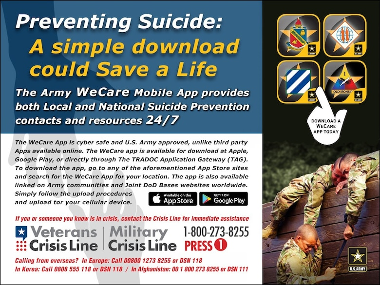 Graphic - Find the full suite of TRADOC WeCare Apps on the Apple App Store for IOS, the Google Play Store for Android, or at the TRADOC App Gateway at: https://public.tag.army.mil/catalog/tag/home.