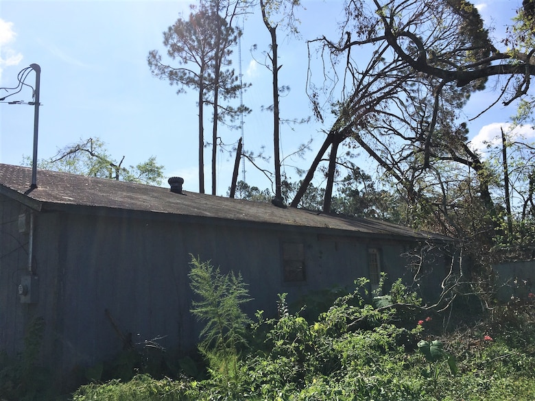 IN THE COLLAGE, Southwest Louisiana homeowner and blue roof recipient Brennon Williams' home before the blue roof installation. Williams' home was one of 3,730 to receive a blue roof during Hurricane Laura recovery efforts. (Courtesy photos)