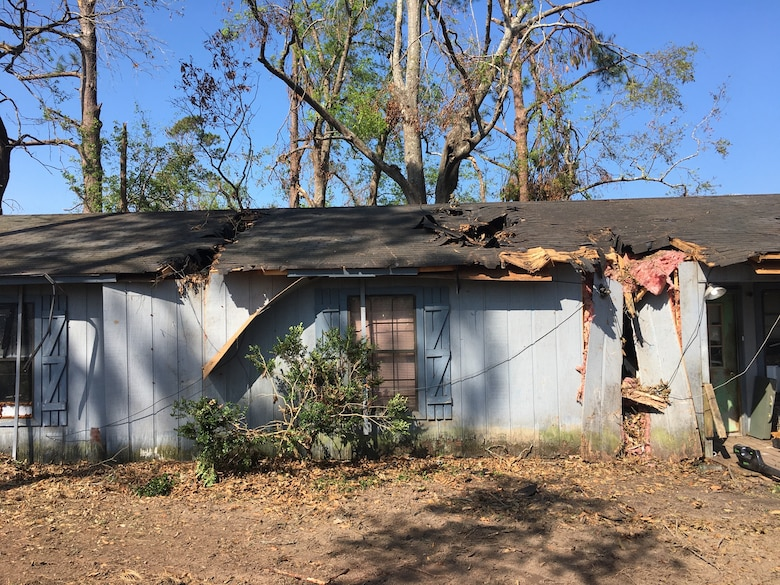 IN THE COLLAGE, Southwest Louisiana homeowner and blue roof recipient Brennon Williams' home before the blue roof installation. Williams' home was one of 3,730 to receive a blue roof during Hurricane Laura recovery efforts. (Courtesy photo)
