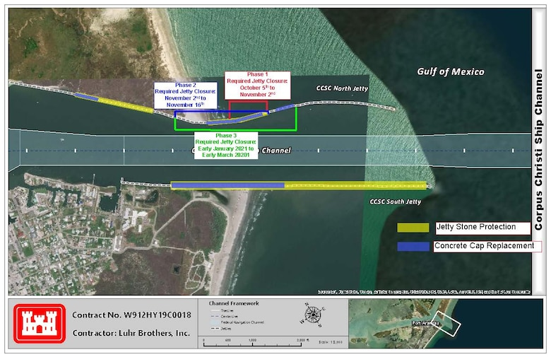 Graphic of the Corpus Christi Ship Channel - Entrance Channel Jetty Repairs plan. The map shows construction and closures to take place on the north jetty during phase 1,2 and 3.