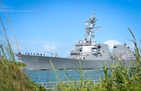 The Navy's newest guided-missile destroyer, the future USS Delbert D. Black (DDG 119), arrives at Port Canaveral, Fla. The Navy will commission DDG 119, the first ship in naval history to be named Delbert D. Black.