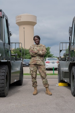 Airman 1st Class Nyarauch Chuol is a passenger operations representative with the 32nd Aerial Port Squadron, Pittsburgh International Airport Air Reserve Station, Pennsylvania. Chuol joined the military because she witnessed military members giving vaccines and helping refugees like her when she was young. (Senior Airman Grace Thomson)