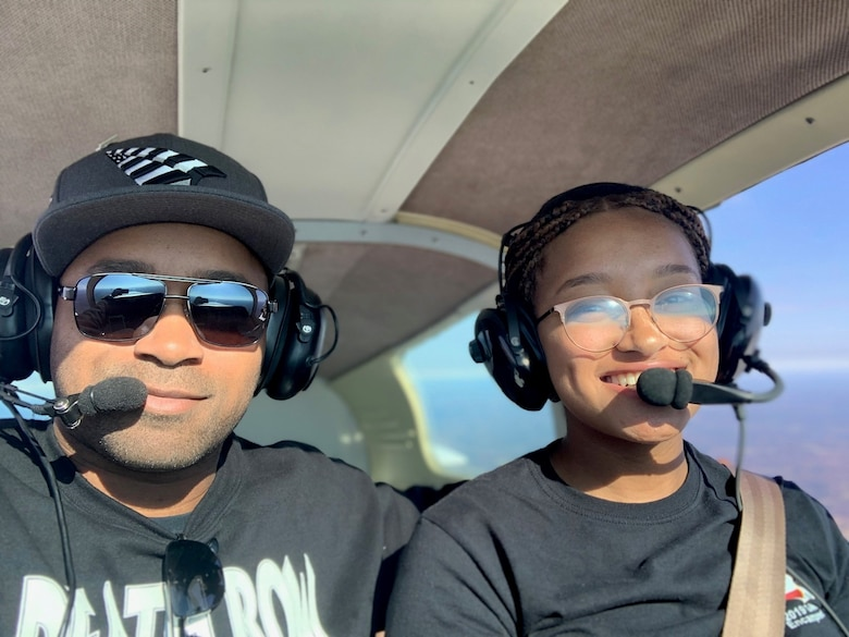 Maj. Thomas and his daughter, Dominica, spend some quality time in the air in 2017. (courtesy photo)
