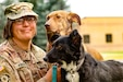Sgt. Corina Kimball, an intelligence noncommissioned officer from Great Falls, Montana, with the 652nd Regional Support Group, sits with her dogs Cinnamon, left, and Pepper, right, September 14 at Fort William Henry Harrison, Helena, Montana. The pair became two of the first rescue dogs from Poland when they reunited with Kimball August 2 in Seattle, Washington. (U.S. Army Reserve photo by Master Sgt. Ryan C. Matson, 652nd Regional Support Group)