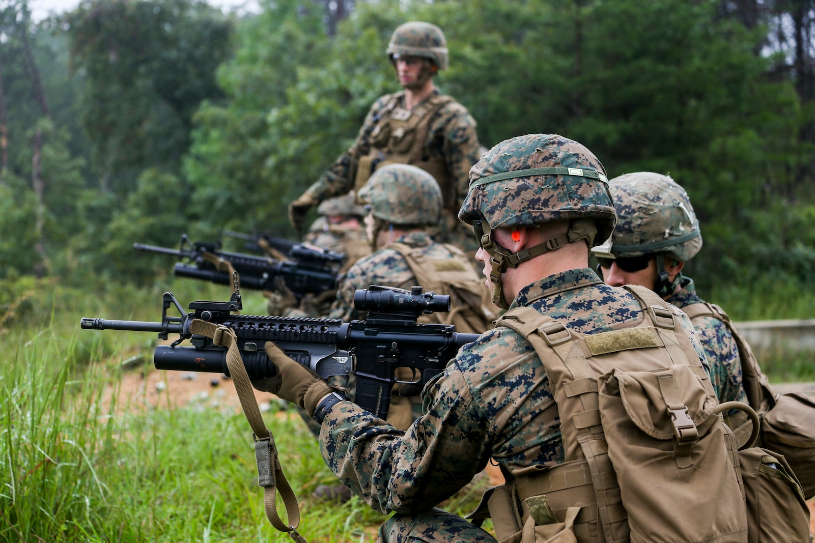 Marines with Bravo Company participate in a high explosive (HE) range during a three day field operation at Marine Corps Base Quantico in Quantico, Virginia, Sept. 10, 2020.