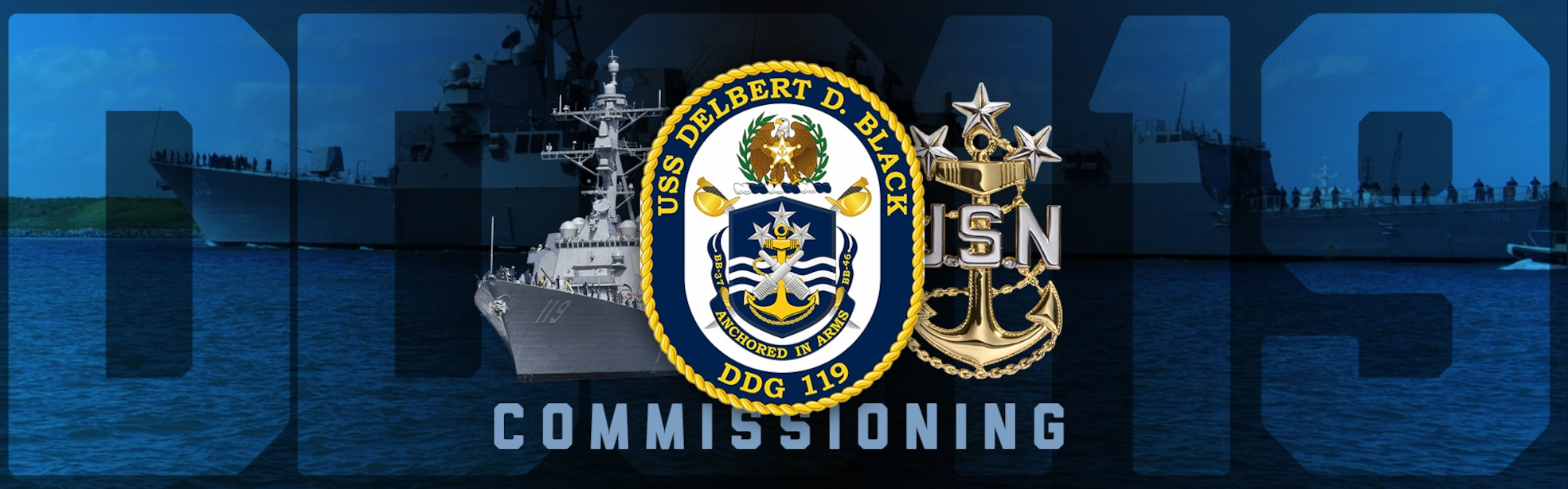 USS Delbert D. Black DDG 119 written on a crest with the word Commissioning below it.