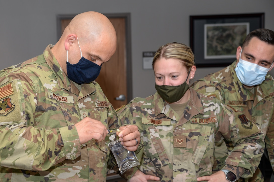 A photo of 177th Medical Group members participating in Tactical Combat Casualty Care training.