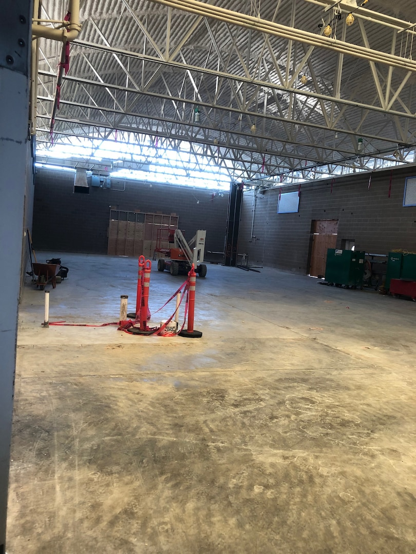 A former gymnasium with all equipment removed is pictured