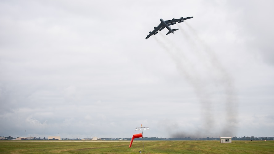 A B-52H Stratofortress takes off from Barksdale Air Force Base, La., as part of a readiness exercise Sept. 25, 2020.