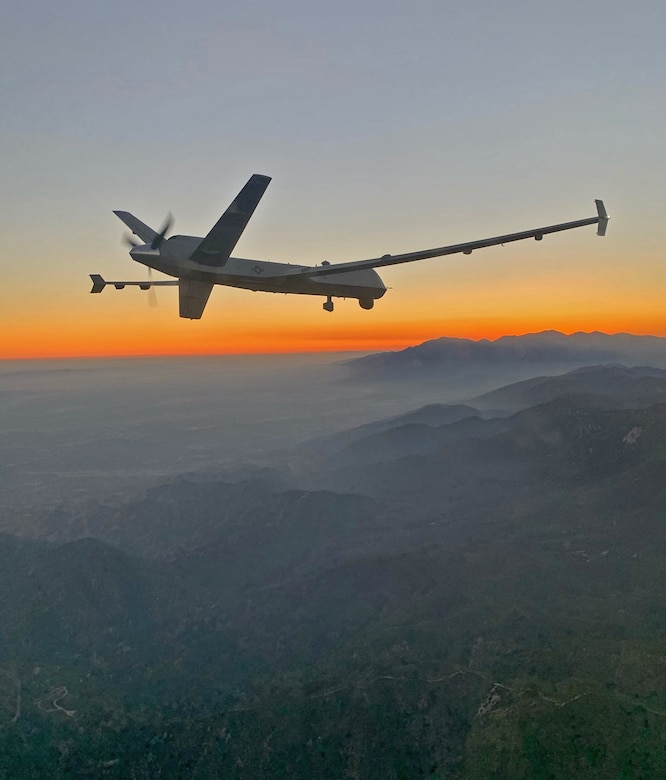 An MQ-9 Reaper remotely piloted aircraft flown by 163d Attack Wing pilot Lt. Col. Paul Brockmeier, with sensor operator Master Sgt. Anthony Martinez, over the smoky San Gabriel Mountains of southern California on the way to a fire mission in northern California in late August 2020.