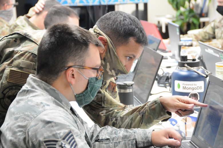 Members of the 112th Cyberspace Operations Squadron at Horsham Air Guard Station conduct a training exercise on Sept. 23, 2020, during a week-long remote cybersecurity exercise in Peraskie, Pennsylvania. Exercise Amber Mist, which normally takes place in Lithuania, was conducted remotely for the first time due to the COVID-19 pandemic.
