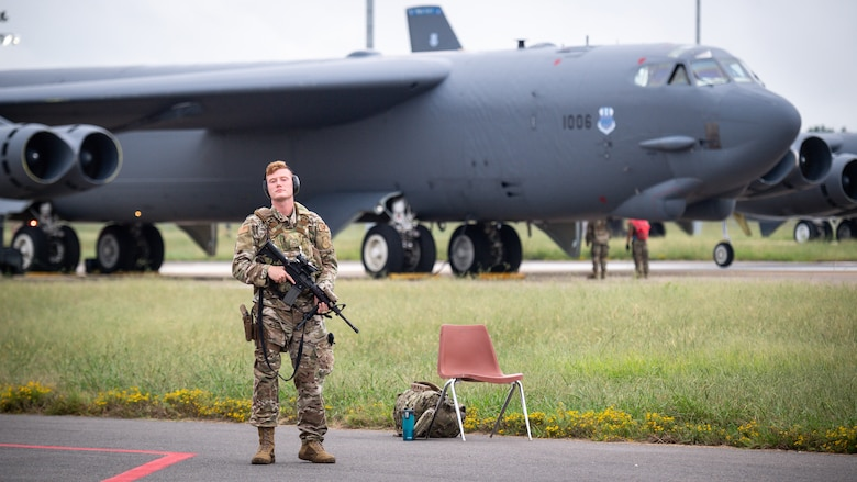 Senior Airman Devin Jodway, 2nd Security Forces Squadron installation patrolman, poses for a photo during a readiness exercise at Barksdale Air Force Base, La., Sept. 25, 2020.