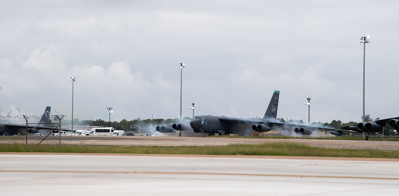 """Airmen """"cart start"""" a B-52H Stratofortress during a readiness exercise at Barksdale Air Force Base, La., Sept. 25, 2020."""