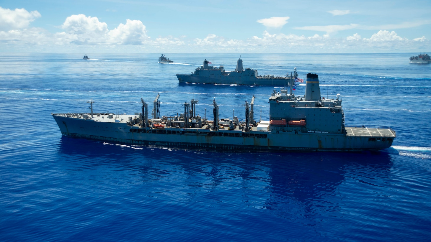 The Henry J. Kaiser-class underway replenishment oiler USNS John Ericsson (T-AO-194), front, steams in formation in support of Valiant Shield 2020.
