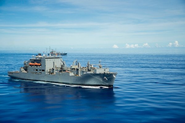 The Lewis and Clark-class dry cargo ship USNS Charles Drew (T-AKE 10) steams in formation in support of Valiant Shield 2020.