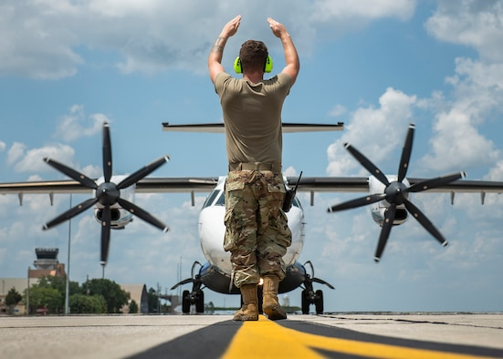 C-146A Wolfhounds sit on the flightline at Duke Field, Florida, in 2019. Citizen Air Commandos from the Reserve's 919th Special Operations Wing work alongside active-duty members and contractos to ensure the Wolfhounds are able to execute missions in austere environments around the globe on short notice. (Senior Airman Dylan Gentile)
