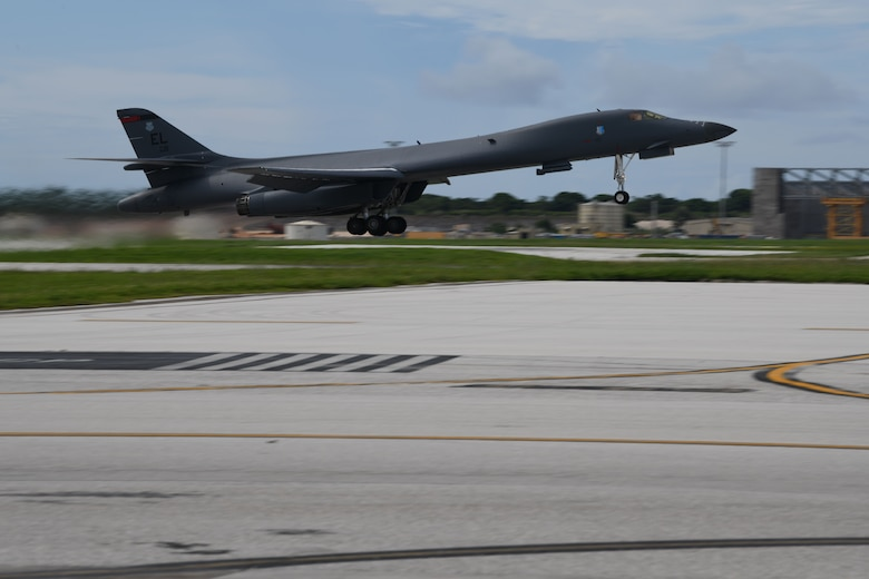 A B-1B Lancer assigned to the 28th Bomb Wing, Ellsworth Air Force Base, S.D., takes off for Exercise Valiant Shield at Andersen AFB, Guam, Sept. 18, 2020. Valiant Shield allows the U.S. Joint Force to more fully develop Joint All-Domain Operations concepts through exercises and experimentation for application in the Indo-Pacific Area of responsibility. (U.S. Air Force photo by Staff Sgt. Nicolas Z. Erwin)