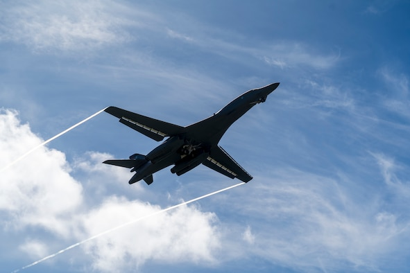 A B-1B Lancer assigned to the 28th Bomb Wing, Ellsworth Air Force Base, S.D., takes off for Exercise Valiant Shield at Andersen AFB, Guam, Sept. 23, 2020. Valiant Shield allows the U.S. Joint Force to more fully develop Joint All-Domain Operations concepts through exercises and experimentation for application in the Indo-Pacific Area of responsibility. (U.S. Air Force photo by Staff Sgt. Nicolas Z. Erwin)