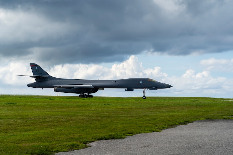 A B-1B Lancer assigned to the 28th Bomb Wing, Ellsworth Air Force Base, S.D., sits on the flightline at Andersen AFB, Guam, Sept. 23, 2020. The U.S. military frequently conducts joint training to refine operational proficiency, improve contingency response abilities and promote stability and security throughout the Indo-Pacific region.  (U.S. Air Force photo by Staff Sgt. Nicolas Z. Erwin)