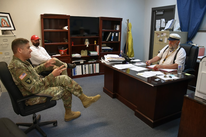 Col. Zach Miller and Local Government Liaison Andrew Auxier meet with Iowa, La., mayor Paul Hesse