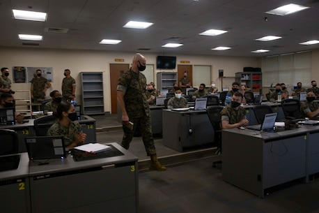 The 19th Sergeant Major of the Marine Corps, Sgt. Maj. Troy E. Black speaks to an intermediate level class at the Marine Corps Combat Service Support School (MCCSSS) at Marine Corps Base Camp Johnson, Jacksonville, N.C., Sept. 17, 2020. During the visit Sgt. Maj. Black discussed the importance of sustaining the transformation as Marines prepare to graduate from their entry level school. MCCSSS develops, conducts and evaluates formal training for entry, intermediate and advanced level officer, enlisted and civilian students in Personnel Administration, Ground Supply Support and Distribution, Financial Management and Logistics Operations, as well as Marine Corps Water Survival training. (U.S. Marine Corps photo by Sgt. Victoria Ross)