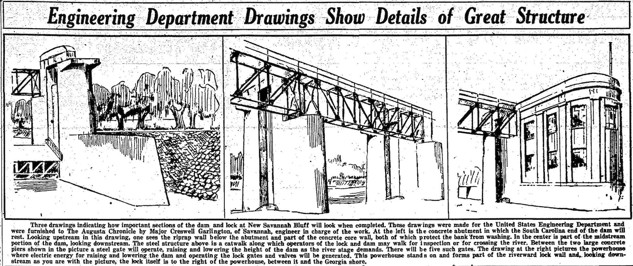 Early rendering of the New Savannah Bluff Lock and Dam from the Augusta Chronicle, December 22, 1933.