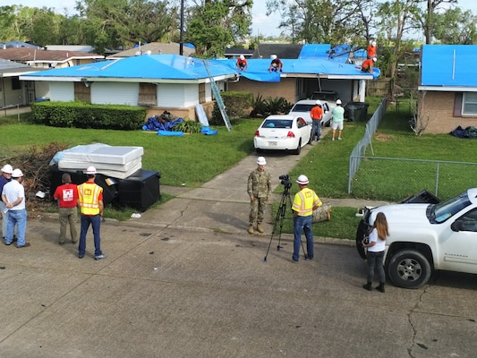 Corps installs 5000th Blue Roof, commemorates one month anniversary of Hurricane Laura landfall