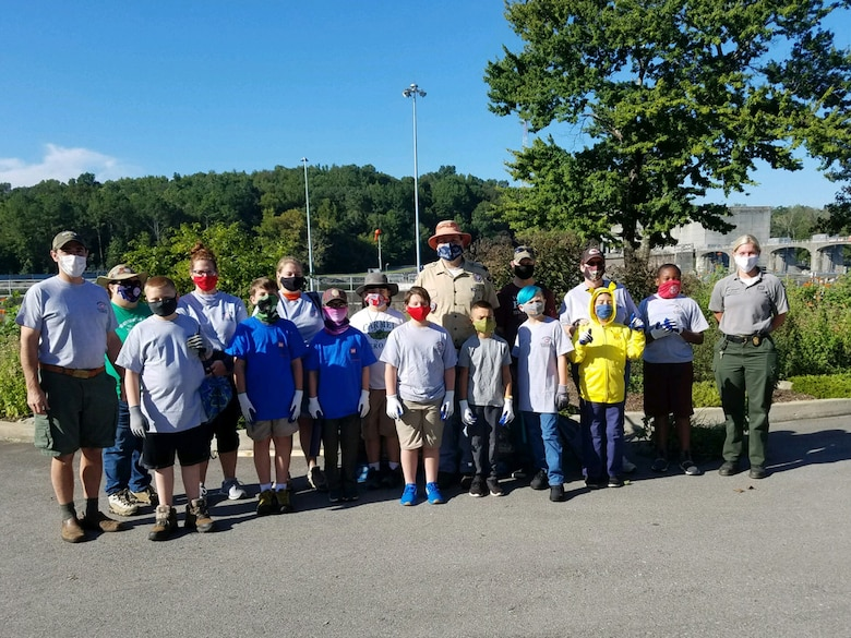 Cub Scouts and leaders from Pack 503 pose together at Cheatham Lake in Ashland City, Tennessee, where they volunteered Sept. 19, 2020 in support of National Public Lands Day. (USACE photo by Amber Jones)