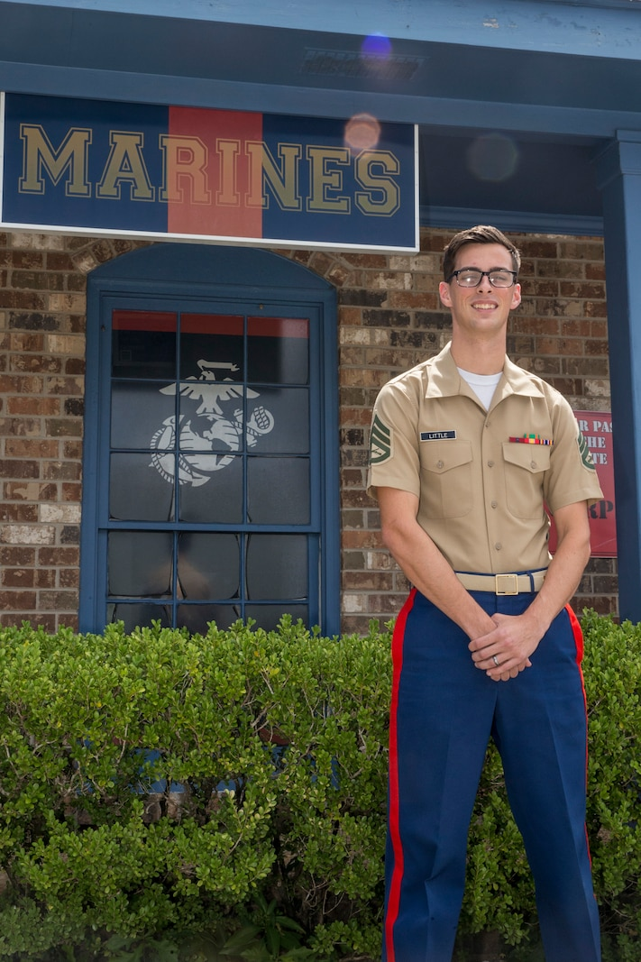 Staff Sgt. Gabriel A. Little, a canvassing recruiter with Recruiting Substation Mobile, Recruiting Station Montgomery, works at his RSS in Mobile, Alabama, Aug. 8, 2020, to guide young men and women in their pursuit of becoming Marines...