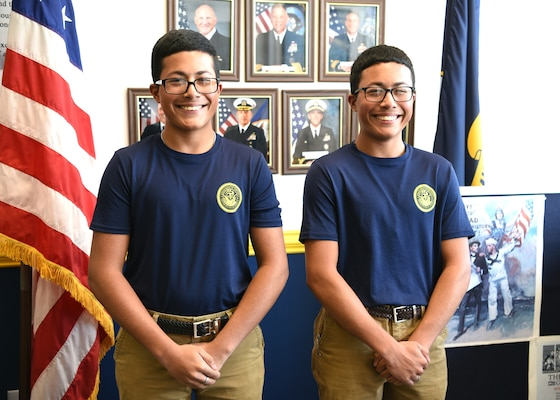 Twin brothers Kalvin (left) and Kelvin Rodriguez Rivera of San Antonio entered the Navy's Delayed Entry Program and are making preparations to attend recruit training to become naval aircrewmen.  The brothers, who are seniors at Highlands High School, were recruited by Petty Officer 2nd Class Brandon Rodriguez of Navy Recruiting Station Southeast San Antonio.