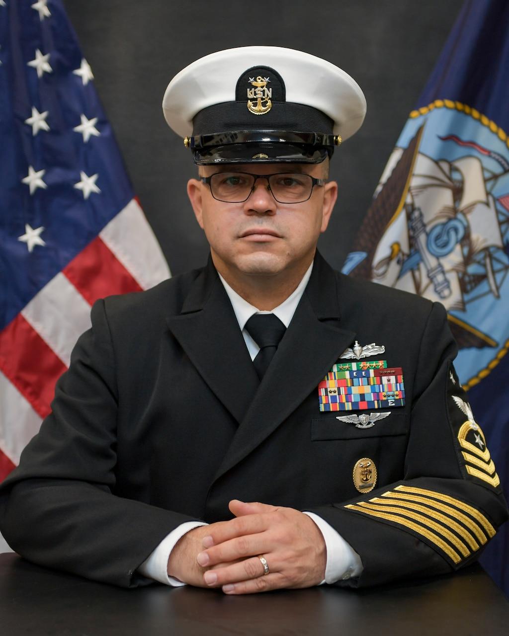 Official Portrait of Command Master Chief Jorge Reyes-Velez