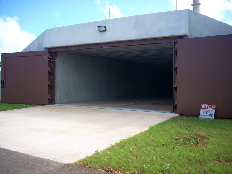 Munitions storage igloos at Andersen Air Force Base, Guam.