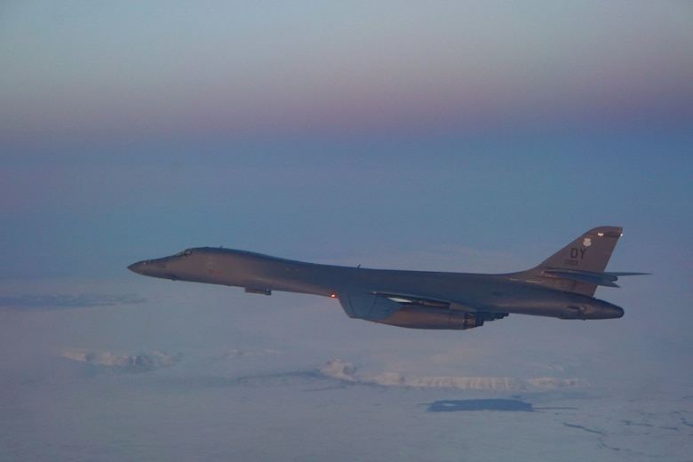 A photo of a  B-1B Lancer assigned to the 345th Expeditionary Bomb Squadron flying over the Arctice Circle, Sept. 25, 2020