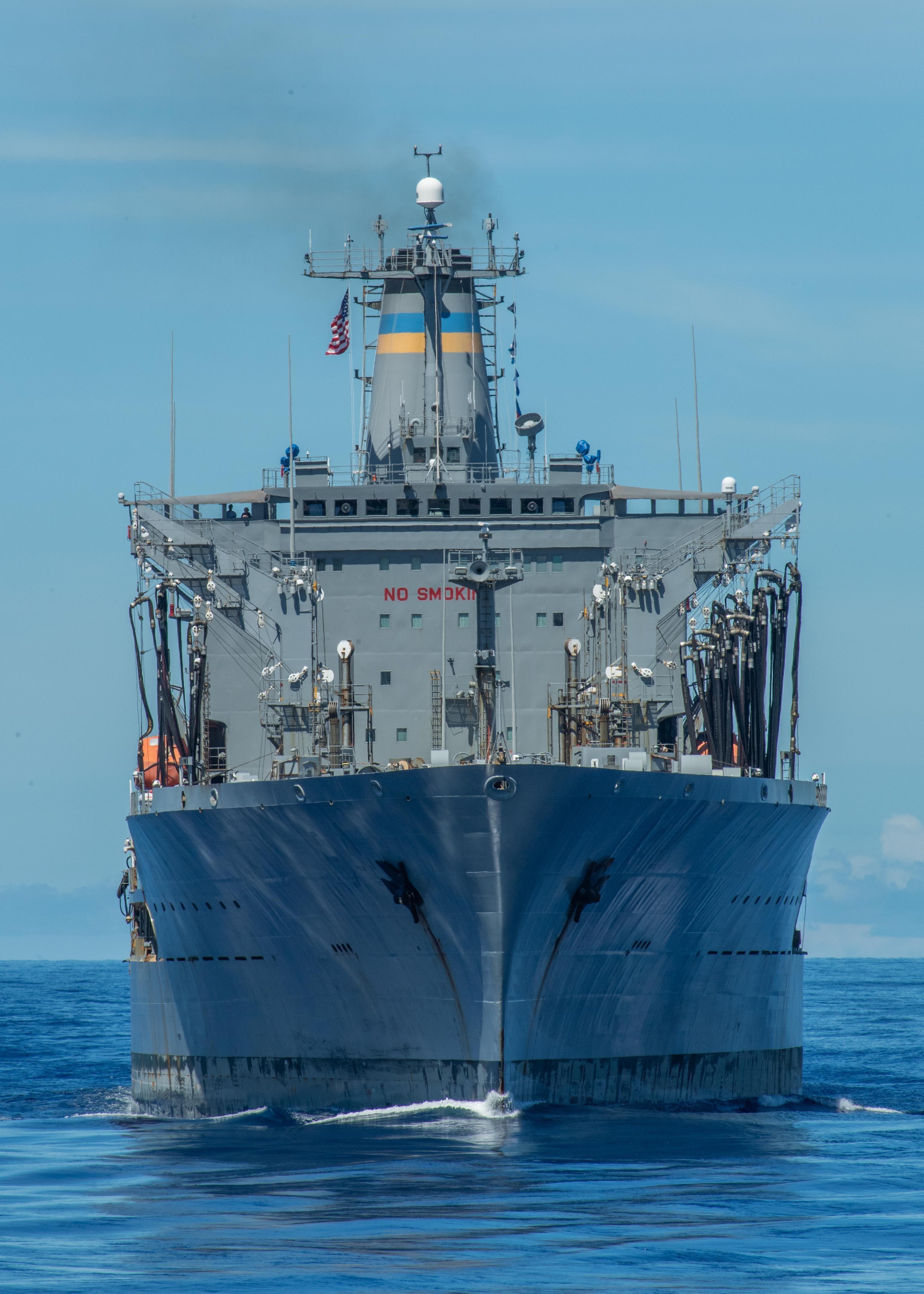 The Henry J. Kaiser-class fleet replenishment oiler USNS John Ericsson (T-AO 194) steams in formation during Valiant Shield 2020.