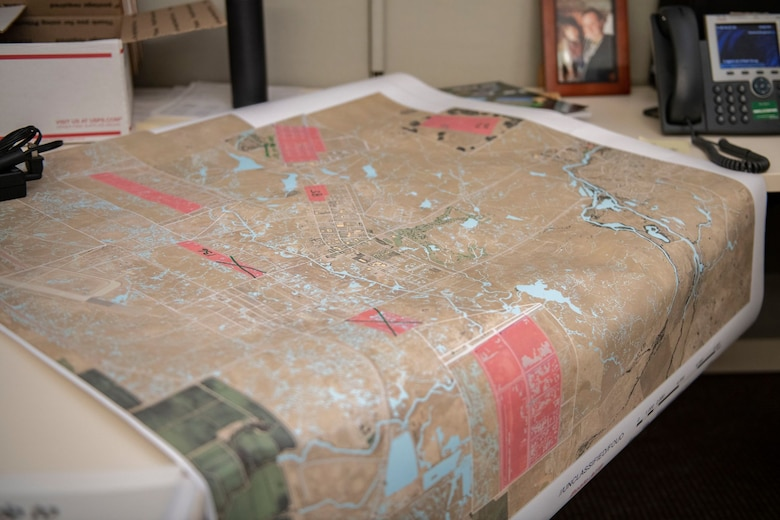 A map sits on the desk of Tech. Sgt. Kevin Cuningham, 9th Civil Engineer Squadron noncommissioned officer in charge of Execution Support, on Beale Air Force Base.