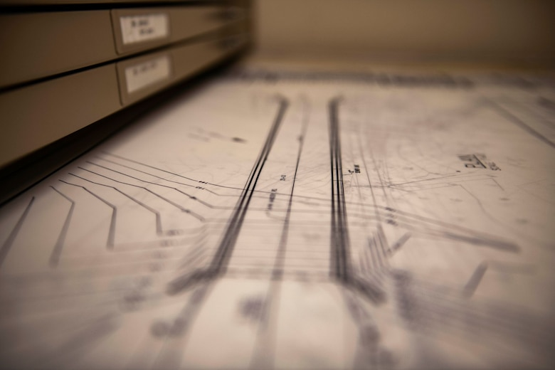 A map sits in a cabinet on Beale Air Force Base.