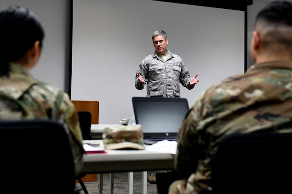 Lt. Col. Rodney Campbell, chaplain in the 419th Fighter Wing, speaks to a group of Airmen that are new to the wing earlier this year at Hill Air Force Base, Utah.