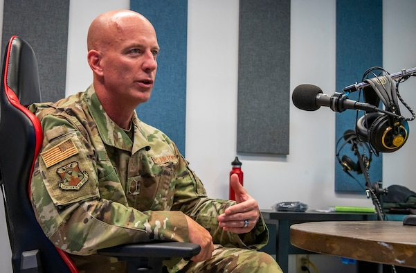 Chief Master Sgt. Chris Simpson, 18th Air Force command chief, speaks during an interview Sept. 23, 2020, at Dover Air Force Base, Delaware.As Air Mobility Command's sole numbered air force, 18th Air Force ensures the readiness and sustainment of approximately 36,000 active duty, Air Force Reserve and civilian Airmen at 12 wings and one stand-alone group. With more than 400 aircraft, 18th AF supports AMC's worldwide mission of providing rapid global mobility to America's armed forces through airlift, aerial refueling and aeromedical evacuation. (U.S. Air Force photo by Senior Airman Christopher Quail)