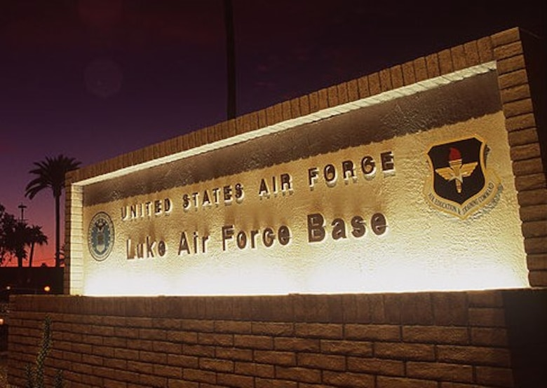 A photo of the main gate at Luke Air Force Base, Arizona.