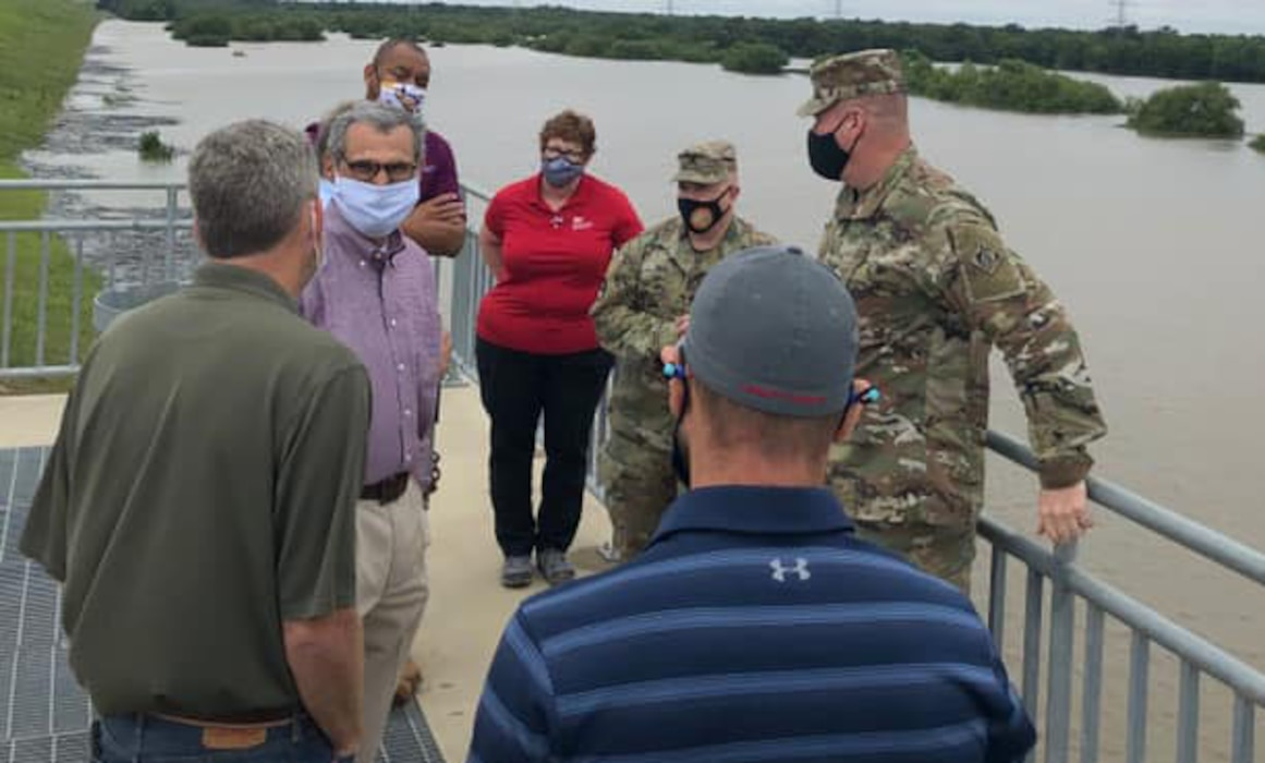 Brig. Gen. Christopher Beck, Southwestern Division commander, visited the Addicks and Barker Reservoirs recently as part of his familiarization of the Galveston District. Beck was able to gain critical and updated information on Addicks and Barker Reservoirs from Galveston District commander Col. Timothy Vail and his Houston field office team.  For the most updated information on Addicks and Barker Reservoirs and to see the latest  Corps Water Management System (CWMS) forecast check out: https://www.swg.usace.army.mil/Missions/Dam-Safety-Program/
