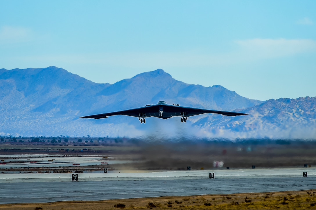 A B-2 Spirit stealth bomber takes off from Plant 42 in Palmdale, California, April 12, 2019. The Air Force's B-2 fleet undergoes undergo programmed depot maintenance every nine years at the Northrop Grumman facility at Plant 42. (Photo courtesy of Alan Radecki/Northrop Grumman)