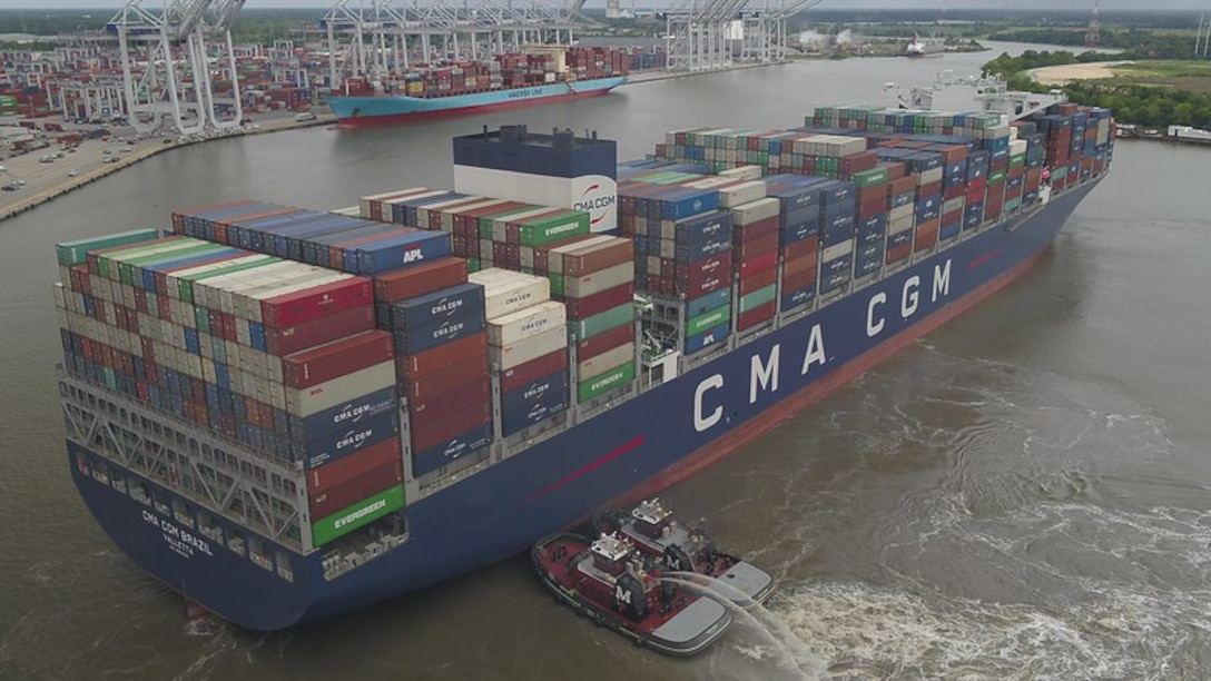 A drone captures the totality of the CMA CGM Brazil, the largest ship to call on the East Coast, at Georgia Ports Authority's Garden City Terminal, Sept. 18, 2020. Photo courtesy of Georgia Ports Authority.