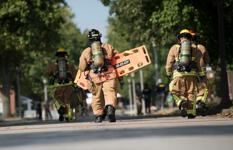 U.S. Air Force firefighter respond during exercise