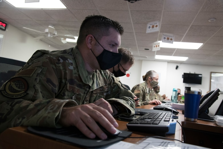U.S. Air Force officer uses computer