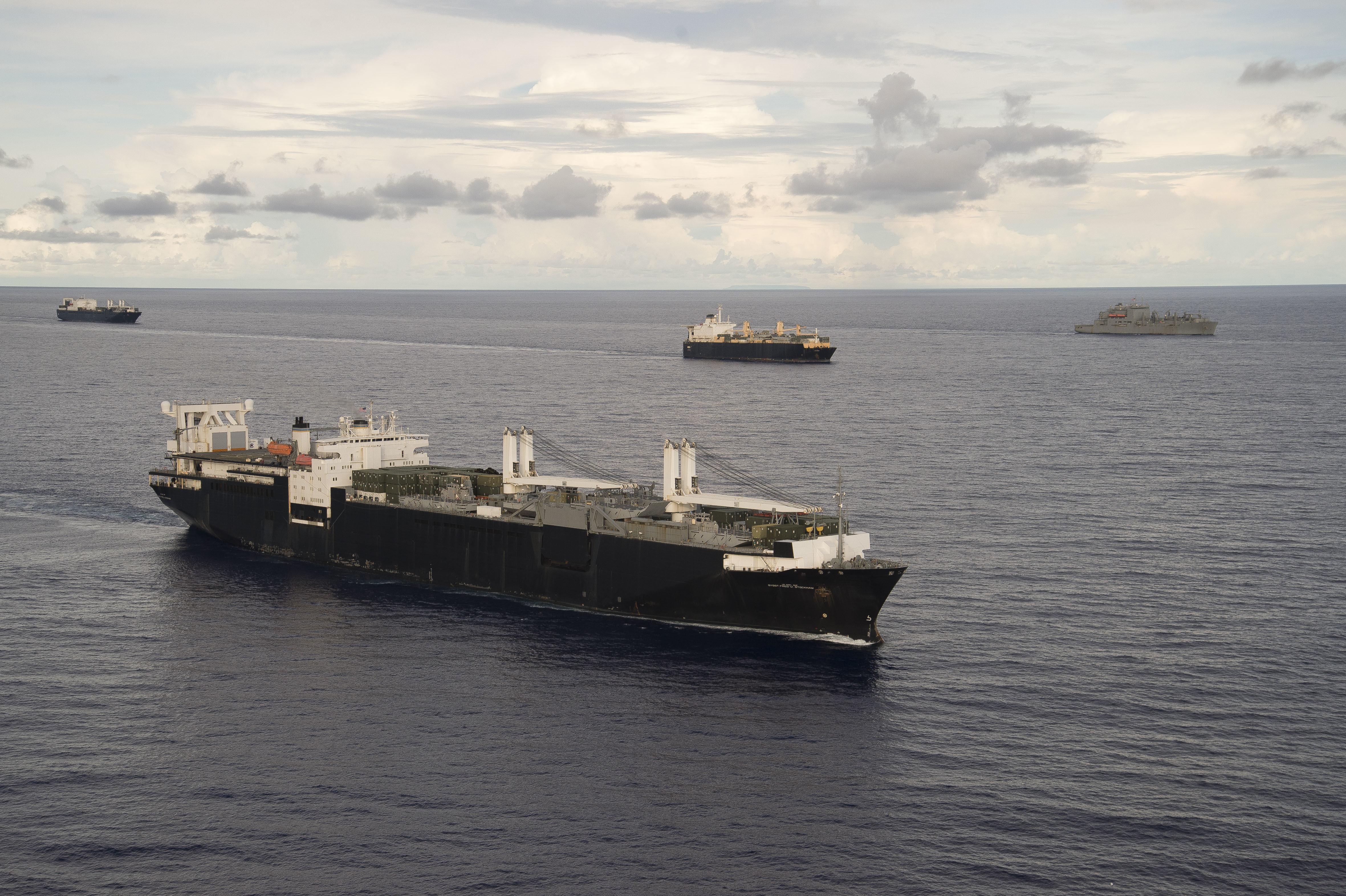 Maritime Prepositioning Ships Squadron (MPSRON 3) executes a Group Sail off the coast of Guam Oct. 4, 2017.