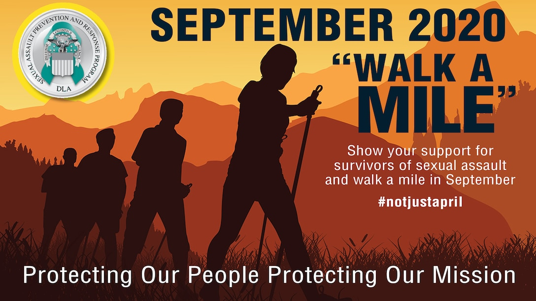 """Graphic with """"September 2020 Walk a Mile"""" and Protecting our people, protecting our mission."""