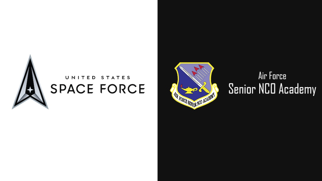 U.S. Space Force logo and Air Force SNCO Academy shield.