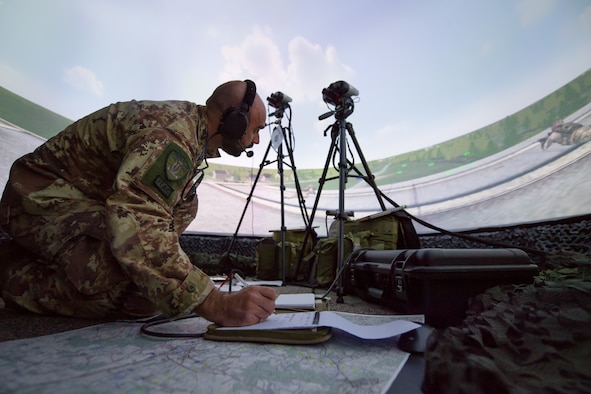 Photo of Airman performing JTAC simulation