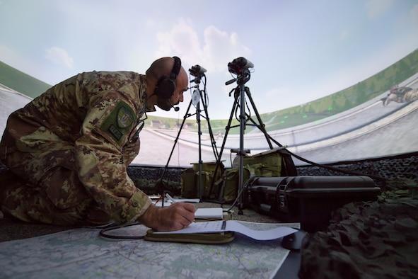 Photo of Airman performing JTAC simulation