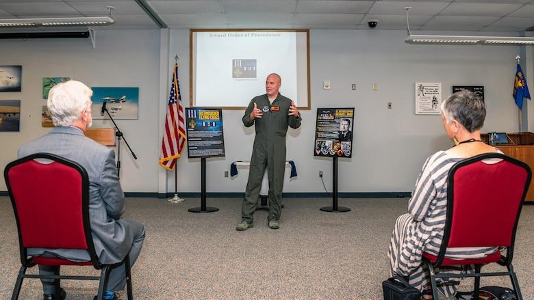 Airman speaking at ceremony.